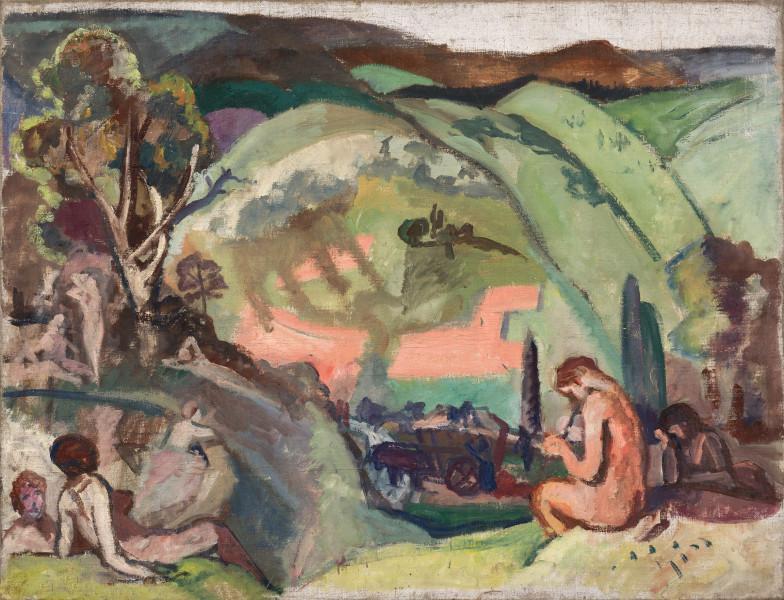 Joueuse de flûte dans un paysage