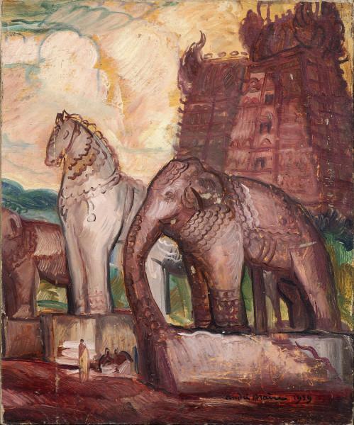 Inde, Temple avec statues de cheval et éléphant, 1939