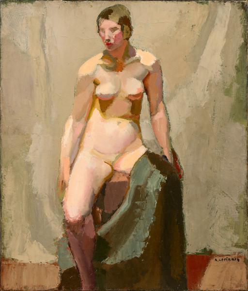 Nu assis avec un drapé vert, 1927.