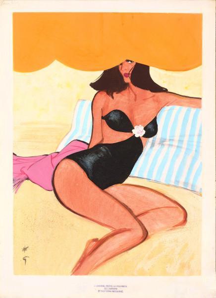 En maillot noir sur la plage,