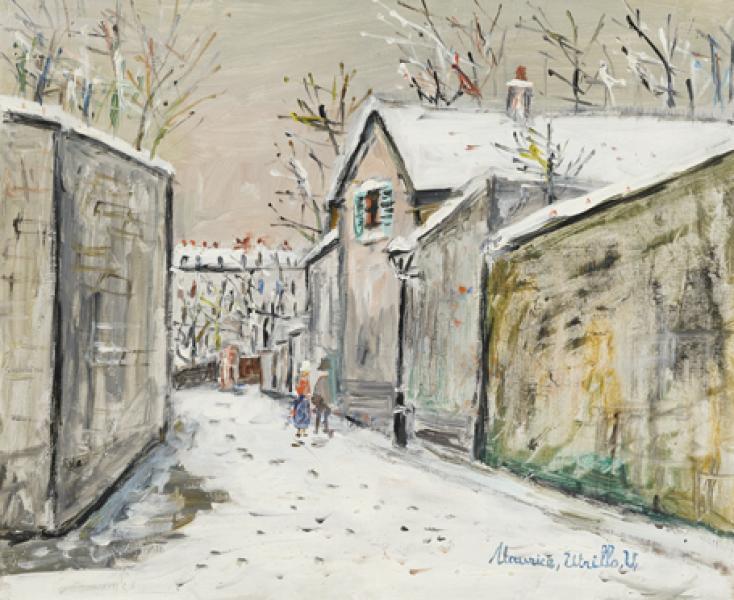 Rue Saint-Vincent et chaumière d'Henri IV sous la neige, Montmartre, circa 1948