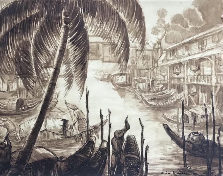 Indochine, Pont de bois sur une rivière