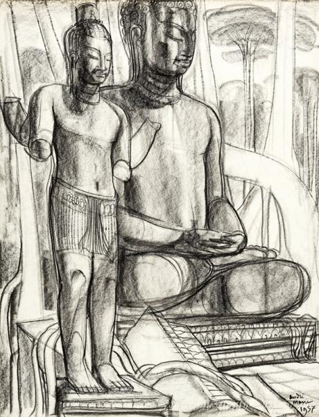 Angkor, Deux statues, Bouddha assis et Bouddha debout, 1957