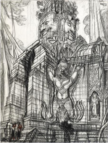 Angkor, Détail d'un temple, Garuda