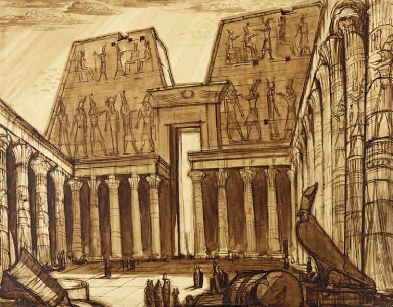 Egypte, Le temple d'Horus à Edfou, 1938