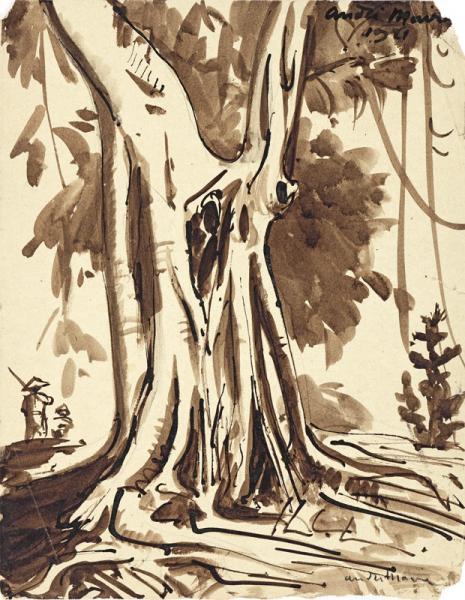 Indochine, personnages au pied du grand arbre