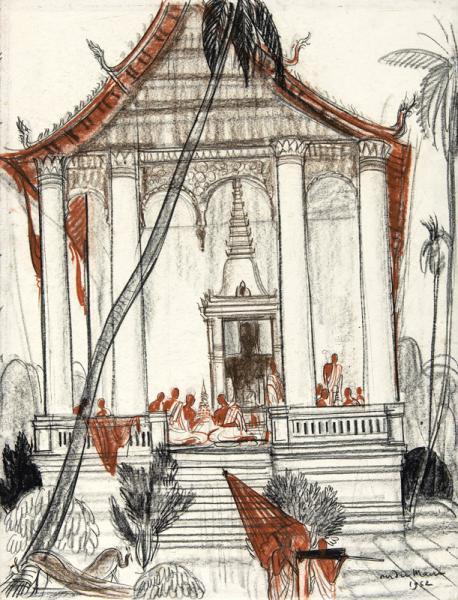 Laos, Bonzes assis sur la terrasse du temple, 1952