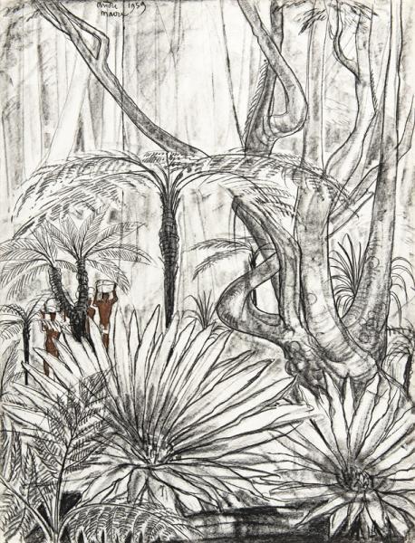 Madagascar, Porteurs dans la végétation, 1959