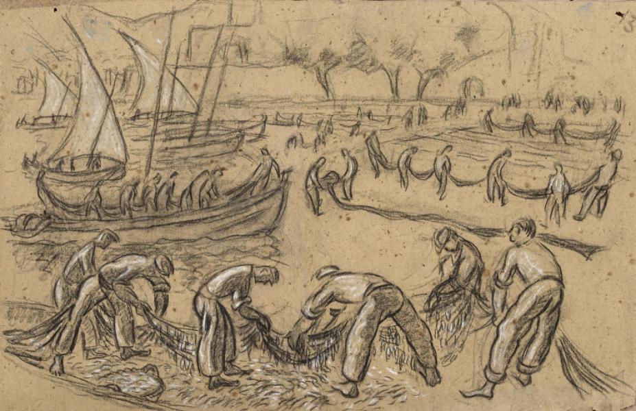 Collioure, pêcheurs défaisant les filets
