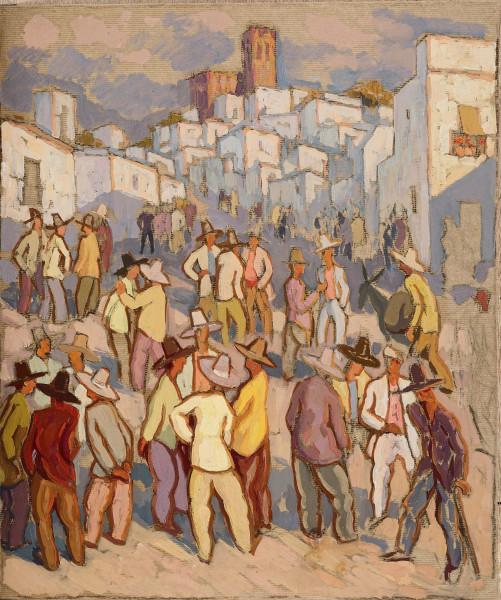 Espagne, réunion d'hommes au village