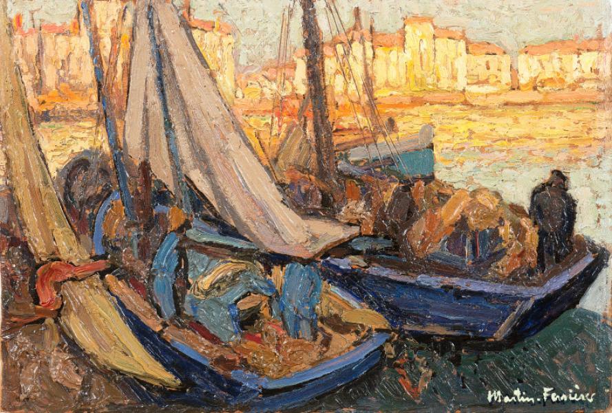 La Rochelle, barques et voiles dans l'ombre, c. 1928