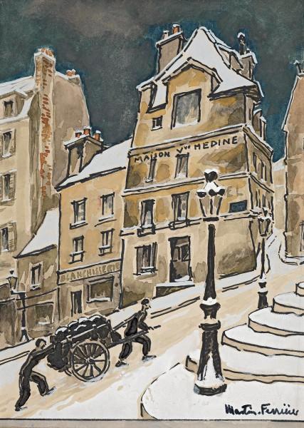 Montmartre, la montée sous la neige