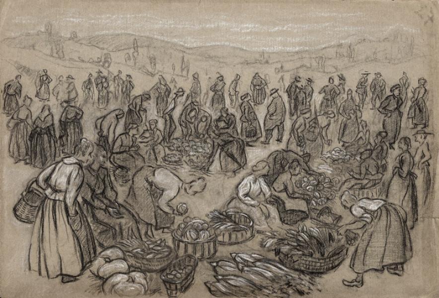 Paysannes au marché