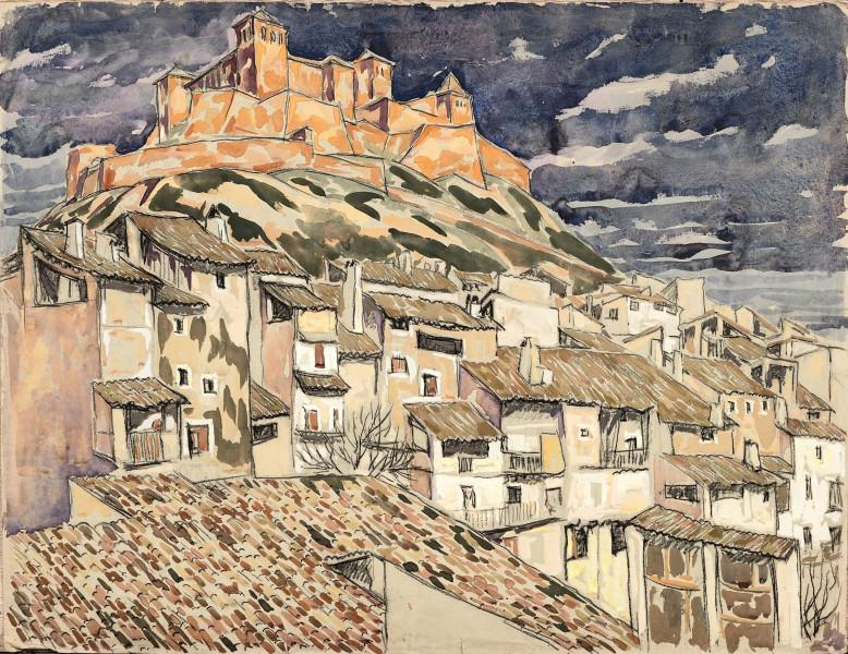 Village au pied d'une forteresse