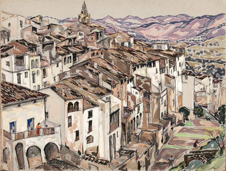Village et collines mauves