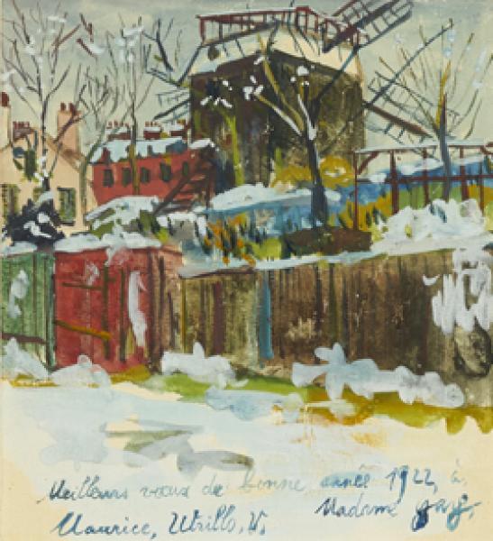 Moulin de la Galette sous la neige à Montmartre, circa 1922