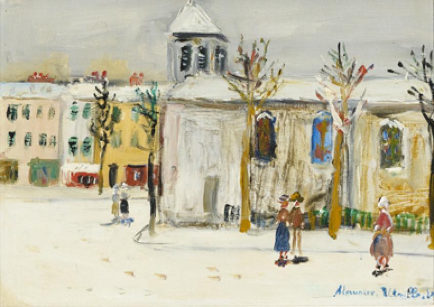 Eglise sous la neige, Clichy (Hauts-de-Seine), circa 1955