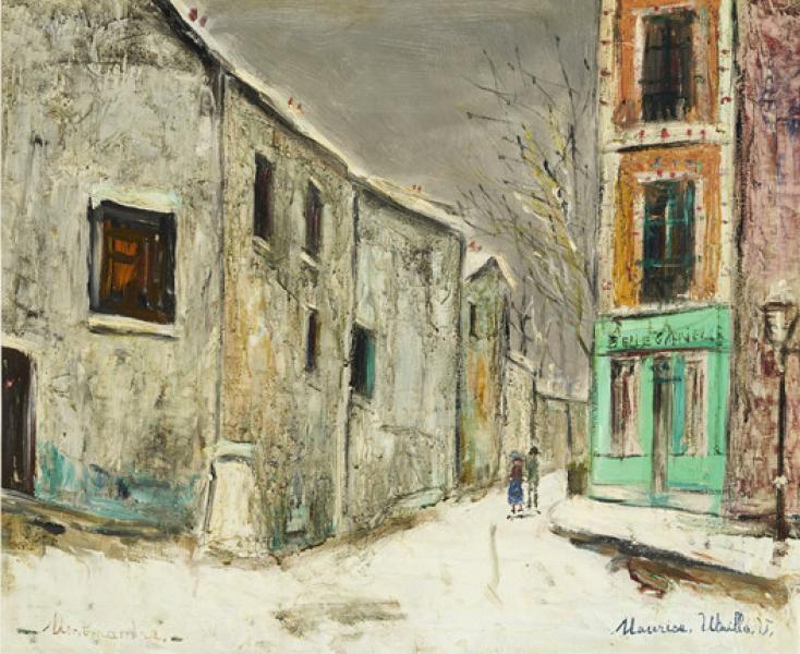 Belle Gabrielle et rue Saint-Vincent sous la neige, Montmartre, 1946