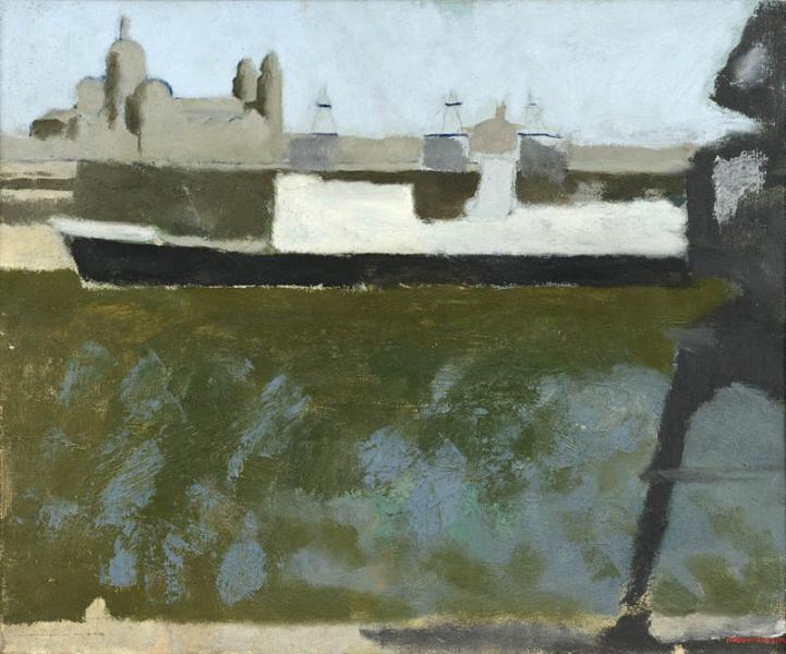 Bassin de la Joliette, bateau noir et blanc
