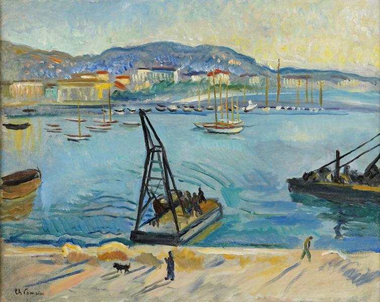 La grue dans le port de Cannes, 1956