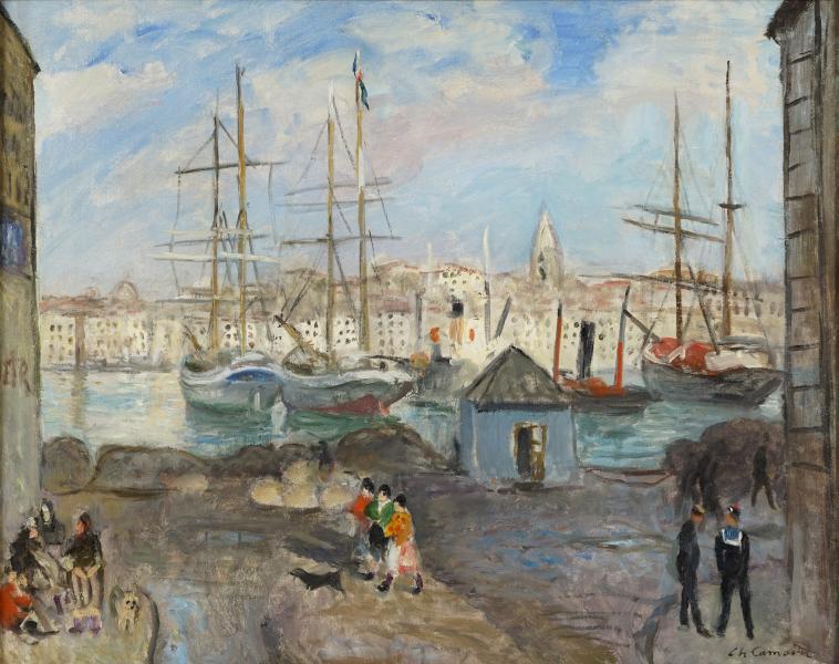 Marseille, le quai aux huiles, poissonnières et marins, 1928