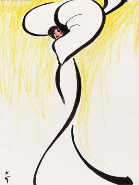Femme tournoyant (hommage à Loïe Fuller), Esquisse, travail préparatoire pour une publicité de parfum Dior-Dior