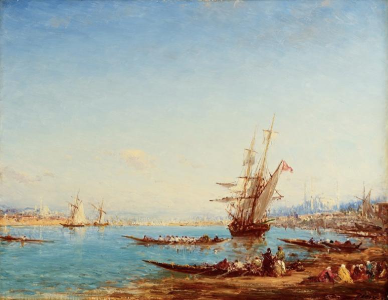 Constantinople, Caïques et frégates sur le Bosphore