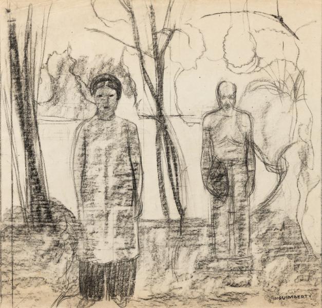 Indochine, deux personnages, étude pour une composition