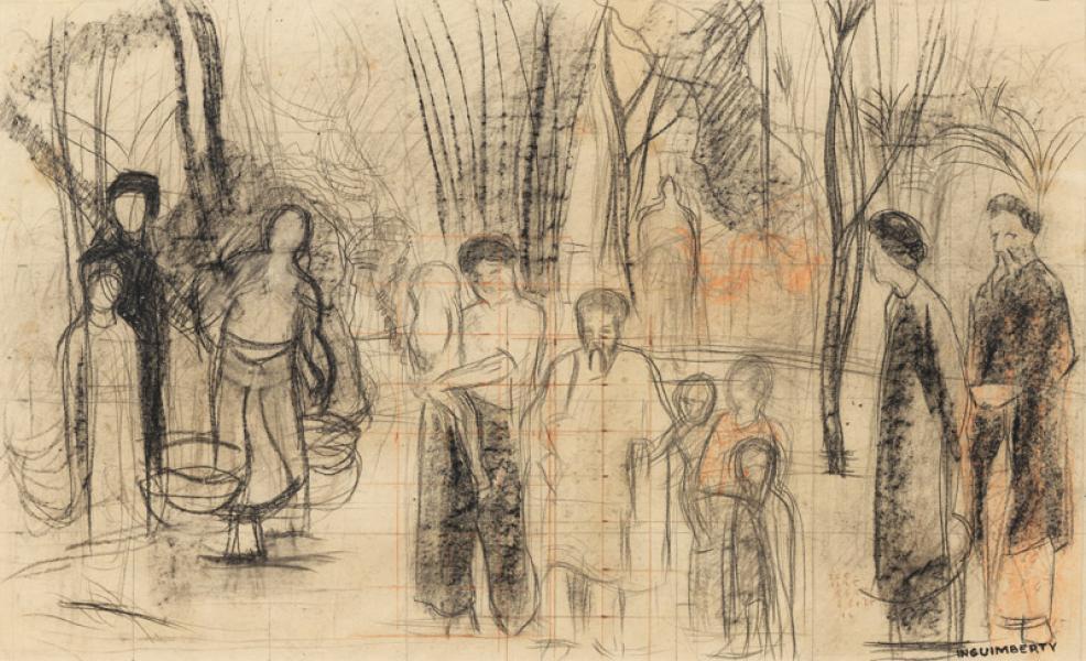 Indochine, personnages au bord de la mare, étude pour une composition