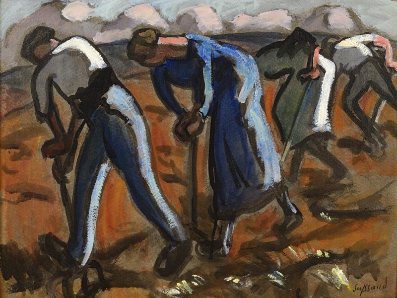 Travail à la bêche, vers 1910